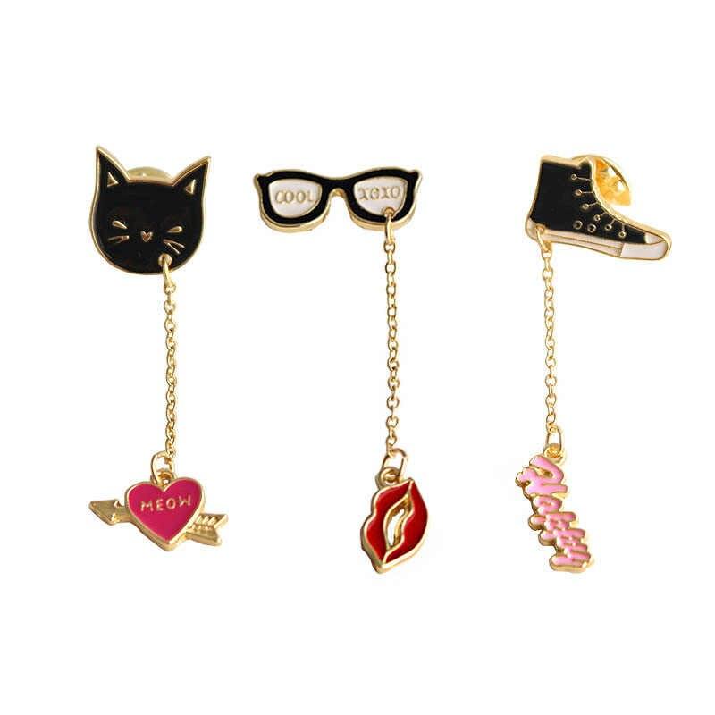 Timlee X045 Baru Lucu Kucing Hitam Gym Shoes Kacamata Merah Bibir Surat Jantung Logam Minyak DROP Bros Pin fashion Perhiasan Grosir