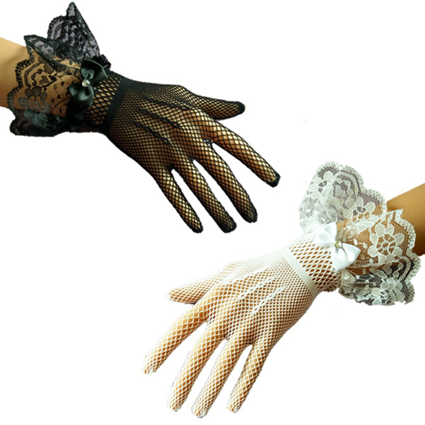 Bride lace gloves women 39 s sunscreen thin short UV blocking gloves classic black white Lace Wrist Gloves lady 39 s party accessories in Women 39 s Gloves from Apparel Accessories