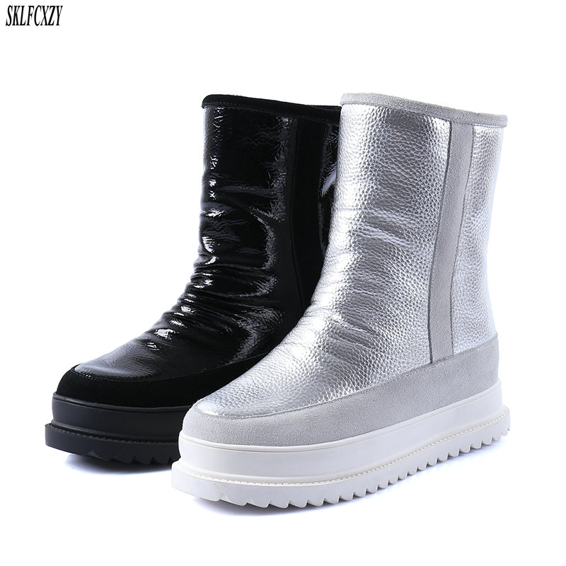 SKLFCXZY Winter new pure wool warm snow boots genuine leather women boots 100% cowhide warm womens shoes