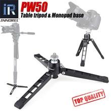 "Mini trípode PW50 para monopié de vídeo, base de soporte Flexible de metal, trípode de mesa de escritorio con cabezal de bola, adaptador de 1/4 ""y 3/8"""