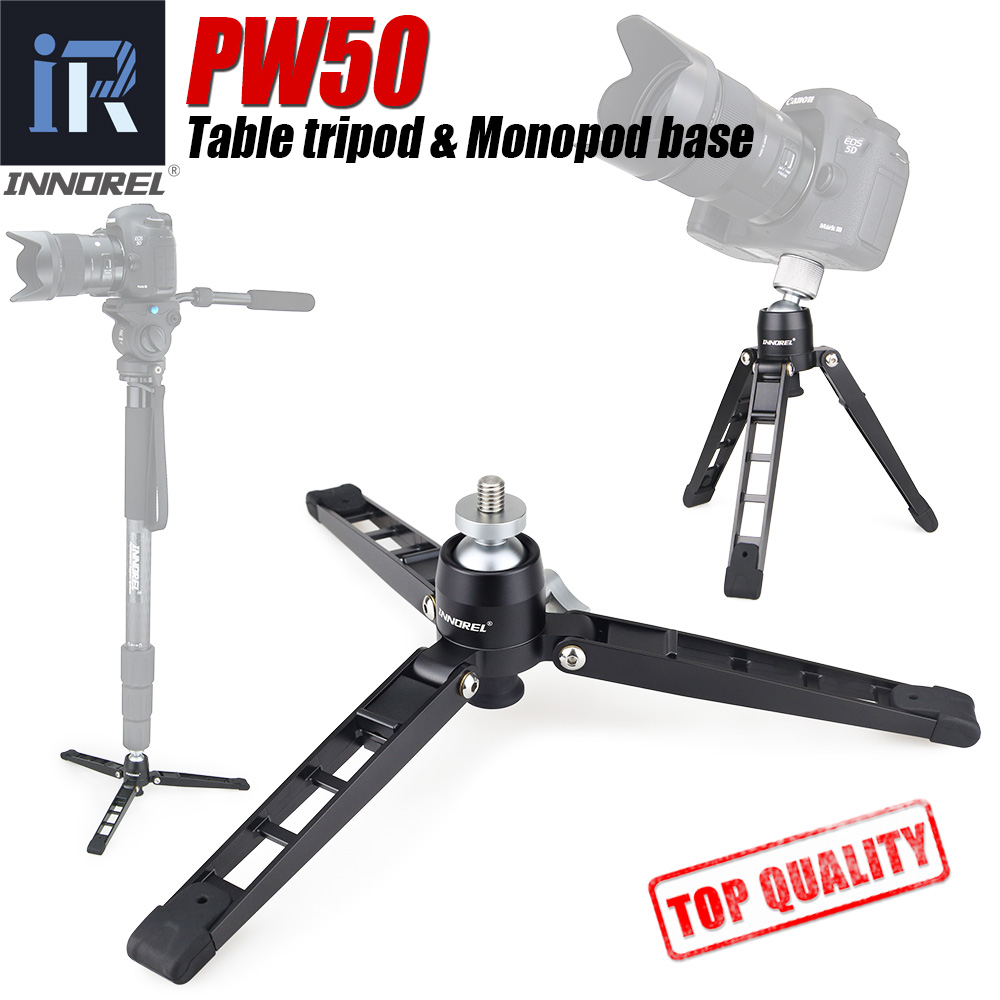 """PW50 Mini Tripod Support For Video Monopod All Metal Flexible Stand Base Desktop Table Tripod With Ball Head 1/4"""" 3/8"""" Adapter"""
