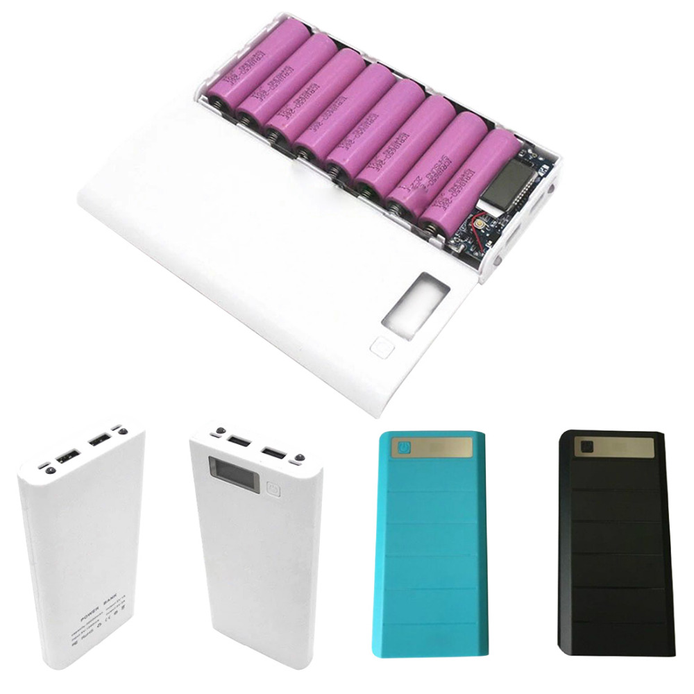 centechia Portable USB Power Bank Shell Box DIY USB Mobile Power Bank Charger Case Pack 8pcs 18650 Battery Holder LCD noontec giant 10400mah usb mobile power bank white