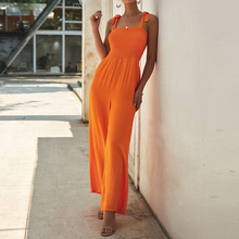 2019 Summer Women  Scoop Neck Solid Wide Leg Long Pants Sleeveless Cool Jumpsuit Ladies Casual Holiday Beach Strappy Playsuit