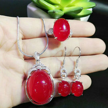 yu xin yuan Fine Jewelry Natural Jade jewelry pendant Earrings Ring Sets free 925 Silver Necklace Women party