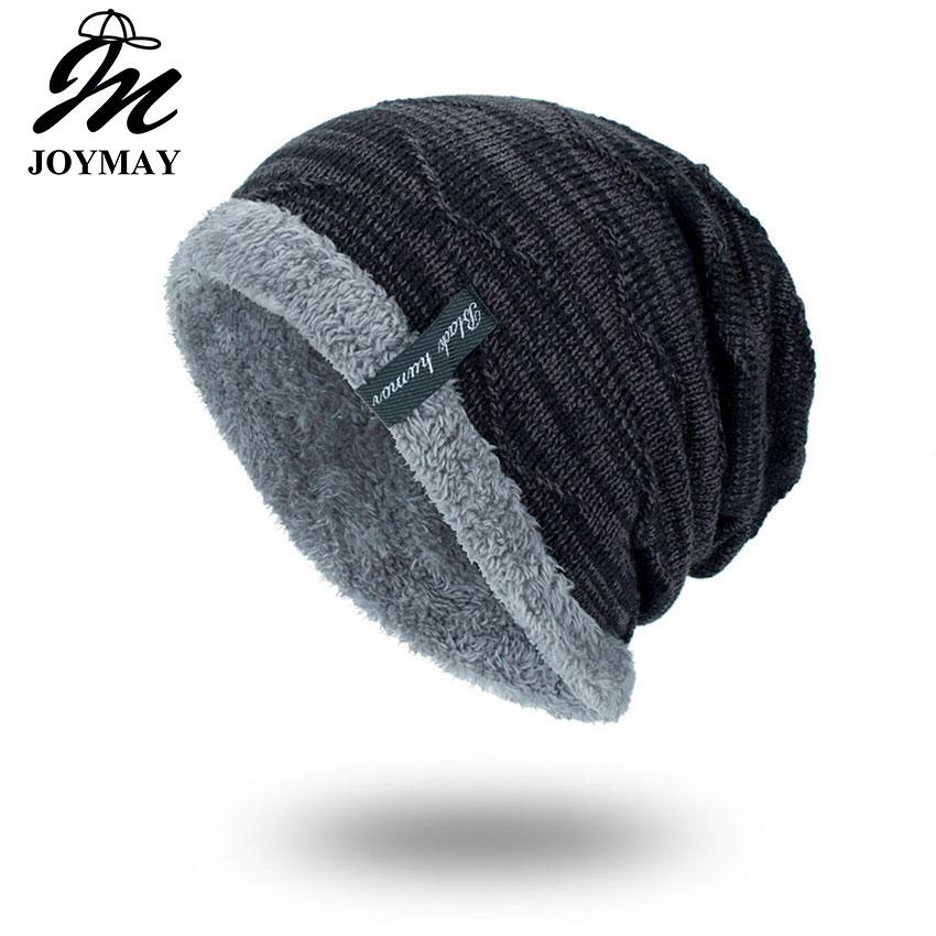 Joymay 2018 téli beanies egyszínű kalap unisex sima meleg lágy skullies kötés sapka sapka Touca Gorro sapka férfiaknak WM059