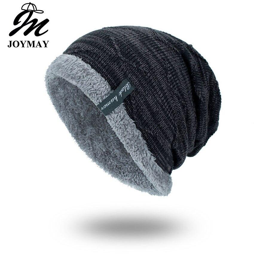 Joymay 2018 inverno gorro gorro gorro chapéu unissex liso quente macio skullies tricô chapéus touca gorro boné para homem feminino wm059