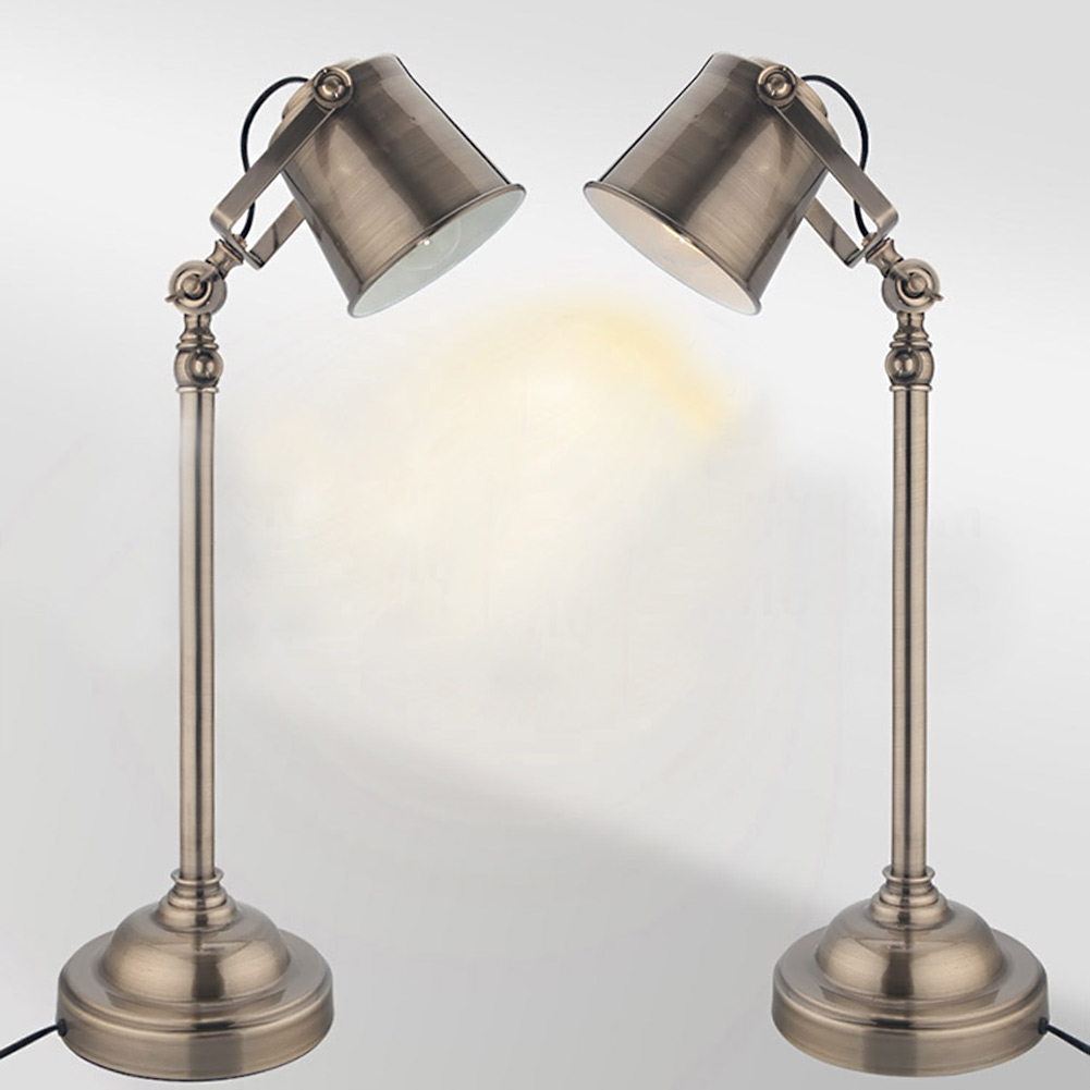 Retro Countryside Loft Style Vintage Wrought Iron Rotatable Table Lamp Reading Burner Bedroom Study Table Light