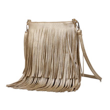 2016 Women Fashion Tassel Fringe Handbags Trend PU Leather Shoulder Bag Ladies Black Leather Crossbody Bags