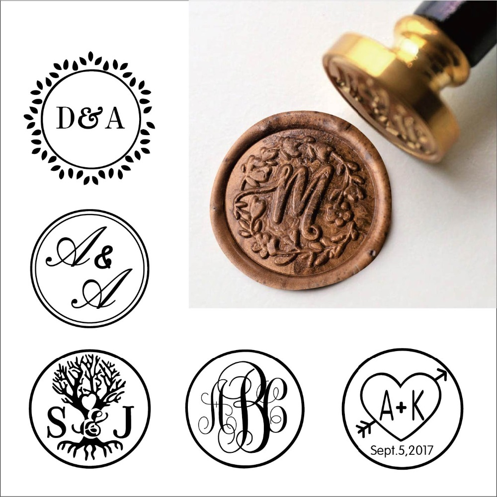 Us 3 64 9 Off Custom Rustic Wreath One Initial Wax Seal Stamp Kit Personalised Wedding Invitation Seals Gift In