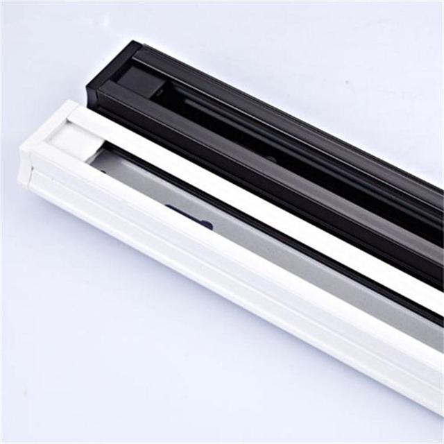 אוניברסלי 1 M 0.5 M מסלול מסילות אלומיניום מסלול תאורה הולם ספוט מנורת מעקב קבועה רכבת 2 חוטים מסילות שחור לבן 1 חתיכה