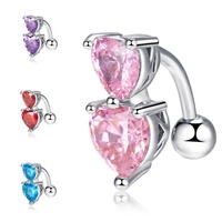 Romantic Exquisite Multi Color Double Heart Shape Crystal Piercings Jewelry Sexy Belly Button Navel Rings Body Accessories
