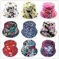 Venta caliente bolsa de viaje exterior casquillo de las mujeres sombrero de verano sombrero de sol lienzo sombrero del Cubo del sombrero de la Señora 12 unids WH001