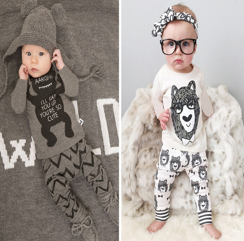 Retail 2016 baby clothes infant clothes baby clothing sets boy Cotton little monsters long sleeve 2pcs baby boy clothes одежда на маленьких мальчиков