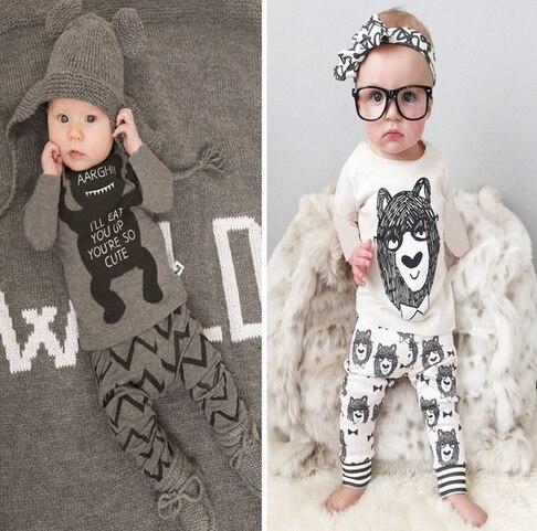 Vêtements de détail 2016 bébé infantile vêtements bébé vêtements ensembles garçon Coton petits monstres à manches longues 2 pcs bébé garçon vêtements