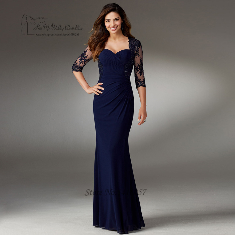 Abiti da Sera Lunghi Green Navy Blue Formal Evening Gowns Dresses Long Lace Plus Size Mother