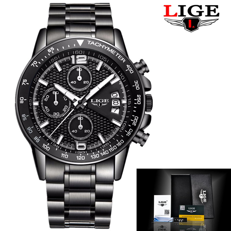 Mens Watches Top Brand Luxury LIGE Male Fashion Sports Watch Men Military Quartz-watch Waterproof Man Clock Relogios Masculino luxury brand pagani design waterproof quartz watch army military leather watch clock sports men s watches relogios masculino