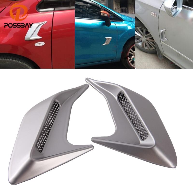 Car Truck Air Intake Flow Fender Sticker Silver Durable Stick Decoration Decor