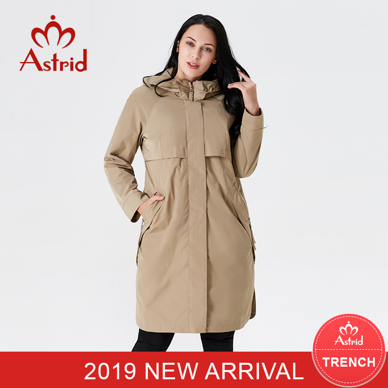 2019 Trench Coat Spring And Autumn Ladies Causal Coat Lengthy Sleeve With Hood Stable Shade Feminine Moda Muje Excessive High quality New As-9046