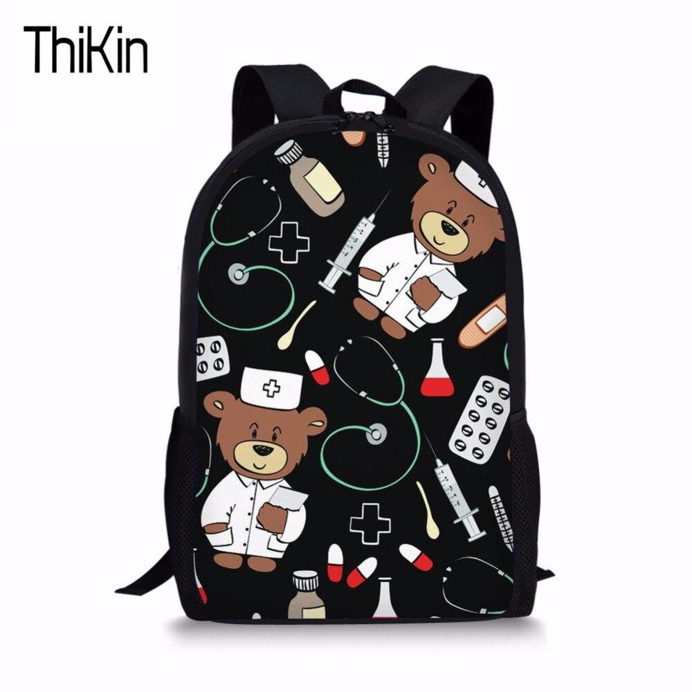 THIKIN Cartoon Kid School Backpack For Child School Bag For Kindergarten Girl Baby Student Boy Cute Bear Doctor Children Back