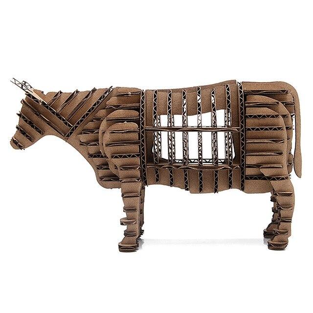 3d puzzle animal cardboard oyuncak bull model paper craft children diy educational toys christmas gifts games