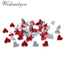 WISHMETYOU 50Pcs 11mm Heart Brads For Diy Embellishment Scrapbooking Photo Album Decor Wedding Crafts Love Accessory