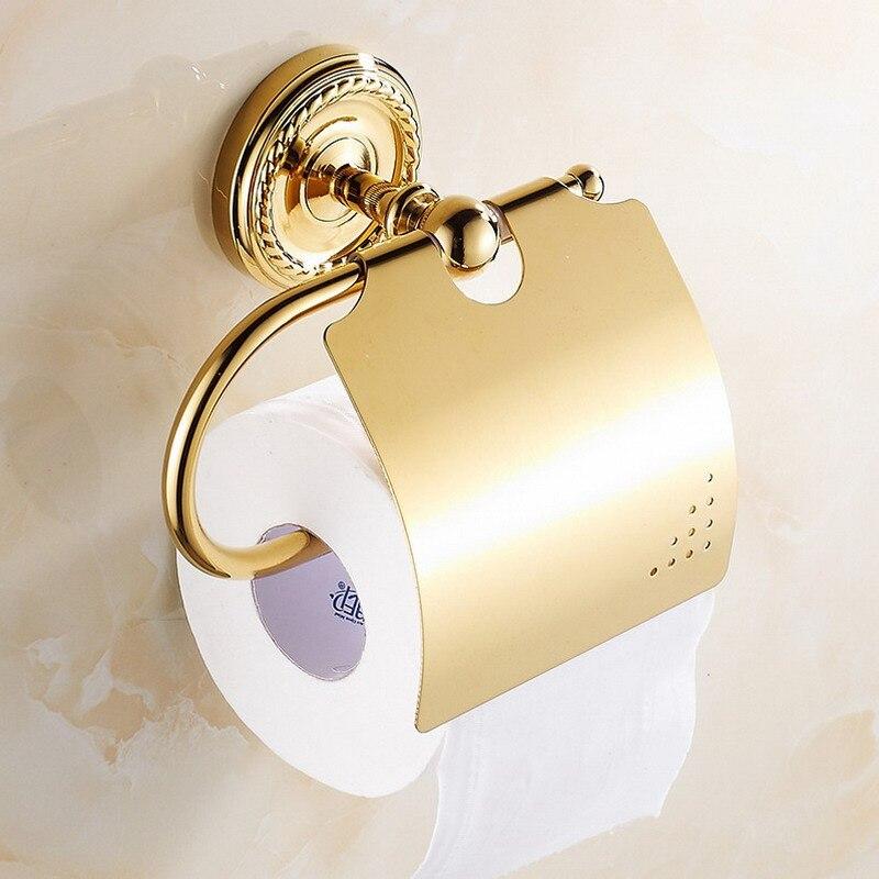 Doré poli salle de bains toilette porte-rouleau de papier mural porte-papier hygiénique porte-papier tissu bain accessoire KD771