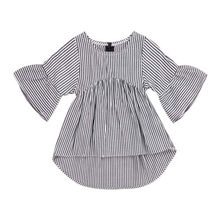 Нестандартная рубашка для новорожденных девочек; топы; модная полосатая блузка принцессы для маленьких девочек; рубашка с длинными рукавами