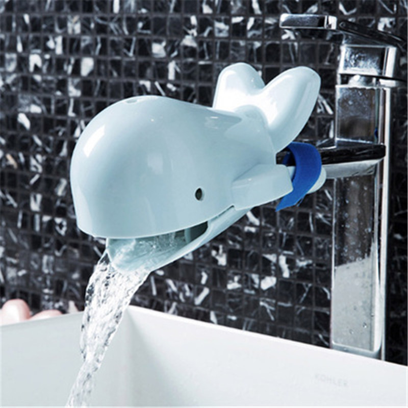 New Cartoon Dolphin Bathroom Brush Faucet Extenders Bathroom Tap Cover Kids Safety Protection Kids Washing Hand Extender Helper