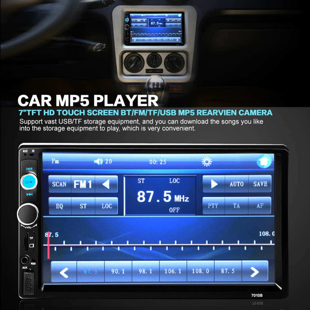 ФОТО 7' 2 Din Car Video Radio MP5 Player HD 1080P Touch Screen Support FM USB AUX Bluetooth TF Card Rear View Camera Auto Estereos