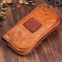 AETOO Handmade leather long wallet retro fold old do card bag men hand bag leather large capacity zipper phone Vintage