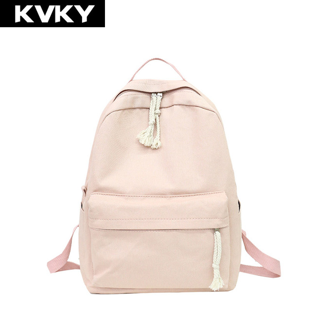 90f19810454 KVKY Canvas Women Backpack Preppy Style Solid Casual Laptop Backpack for  Teenage Girls School Bag Female Travel Rucksack Mochila-in Backpacks from  ...