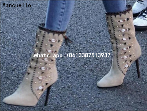 2017 Hot Bohemia Embellished Genuine Leather Boots Fringe Women Boots Seashells Gold Studs High Heel Shoes Free Shipping