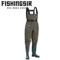 FISHINGSIR Chest Fishing Waders Hunting Bootfoot with Wading Belt Waterproof Nylon PVC Cleated Wading Boots for Men Women