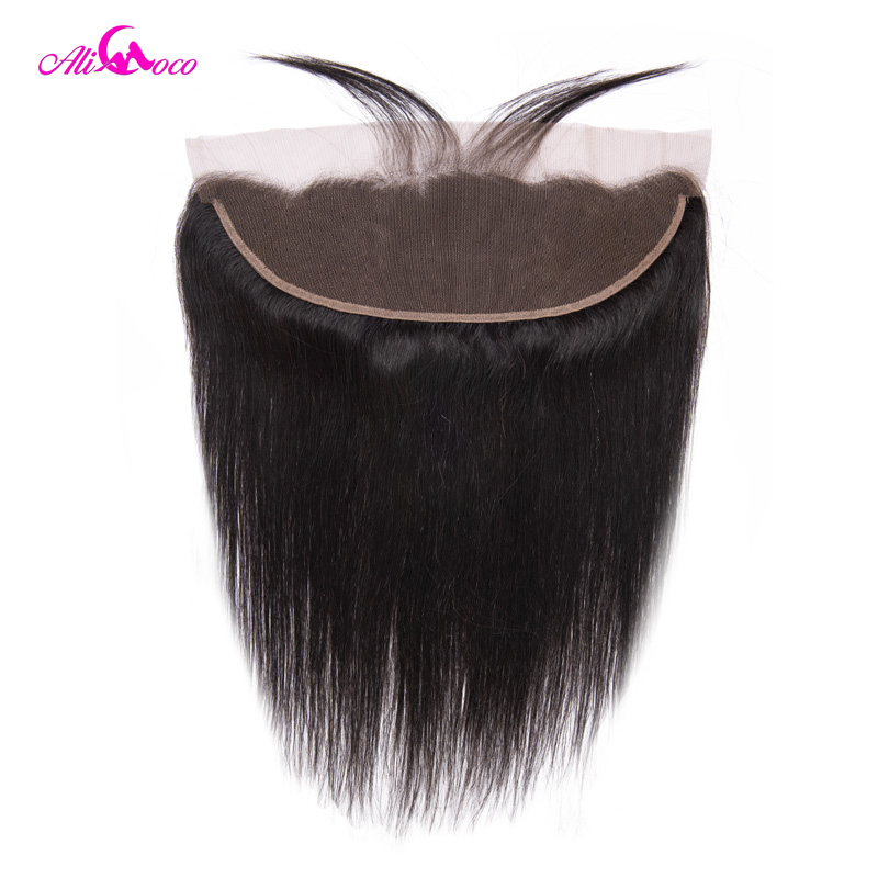 Ali Coco Hair Brazilian Straight Lace Frontal Closure With Baby Hair 8-22 Inch Ear To Ear Frontal 100% Remy Hair Frontal