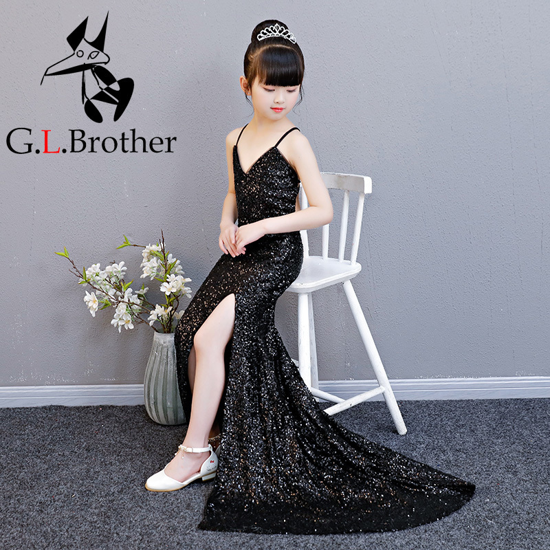 Sequined Flower Girl Dresses Black Wedding V-neck Long Kids Dress Backless Evening Tutu Mermaid Princess Dress For Birthday недорго, оригинальная цена