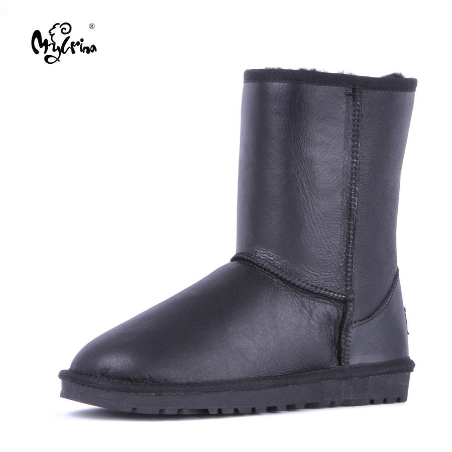 MYLRINA Top Quality 2018 New Fashion Classic Natural Fur Genuine Sheepskin Leather Snow Boots Real Wool Winter Shoes For Women free shipping classic natural fur real wool genuine sheepskin leather snow boots for women winter shoes high quality page 2