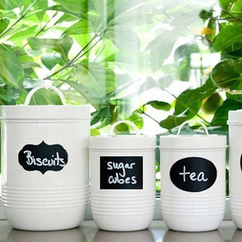40x Chalkboard Removable Stickers Craft Decor Jar Labels Kitchen Utensils Black
