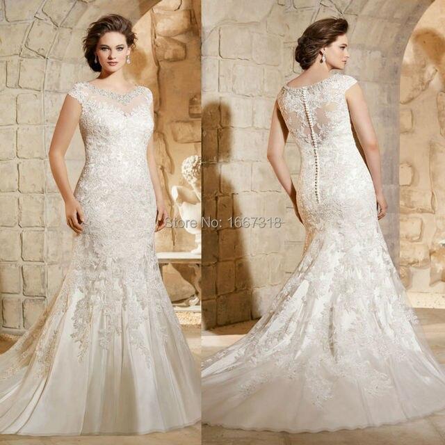 2015 New Elegant Full Long Sleeves Mermaid Wedding Dresses: Plus Size Wedding Dress High Neck 2015 New Elegant Cap