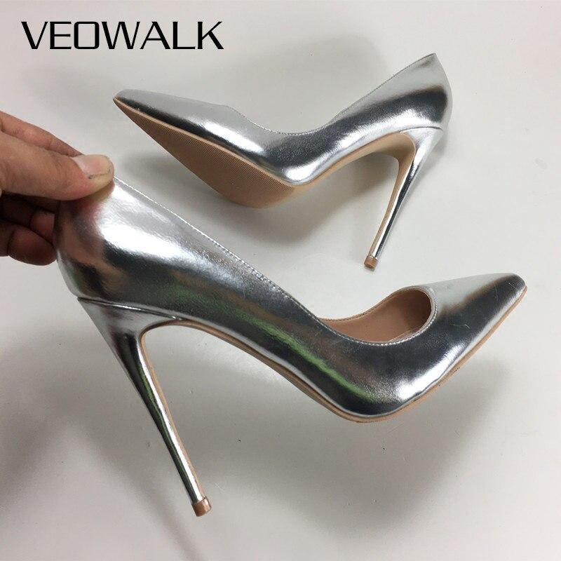 Veowalk Silver Matte Women Sexy Stilettos Pumps 8 10 12cm Pointed Toe High Heels for Elegant Ladies Woman Party Wedding Shoes