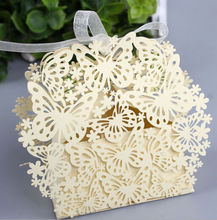 100pcs/lot Luxury New Big Butterfly Laser Cut Wedding Favours Party Sweet Candy Box