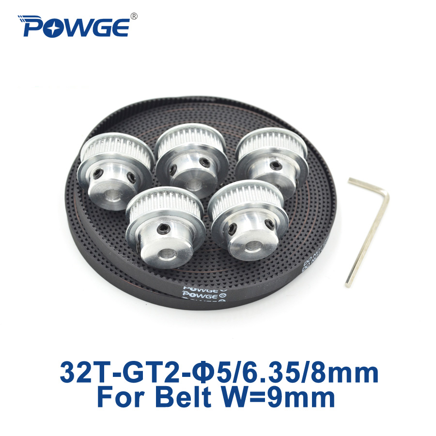 POWGE 5pcs 32 teeth GT2 Timing Pulley Bore 5mm 6.35mm 8mm + 5Meters width 9mm GT2 Synchronous Belt 2GT belt pulley 32Teeth 32T цена