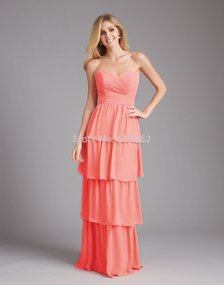Buy cheap strapless floor length chiffon coral bridesmaid dress - Strapless Sweetheart Tiered Skirt Coral Colored Bridesmaid Dresses China Mainland