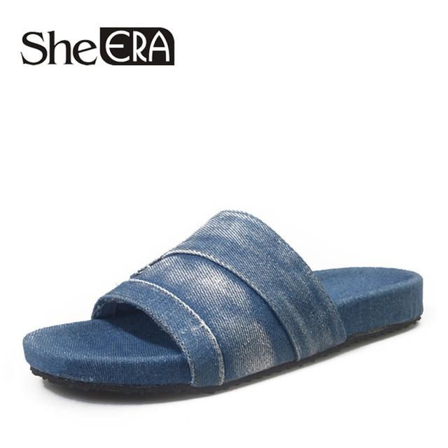 82965c8e2c2 New Arrival Canvas Women Shoes Summer Women Flip Flops Denim Flats Sandals  Designer Women s Sandals Slides Laides Slippers