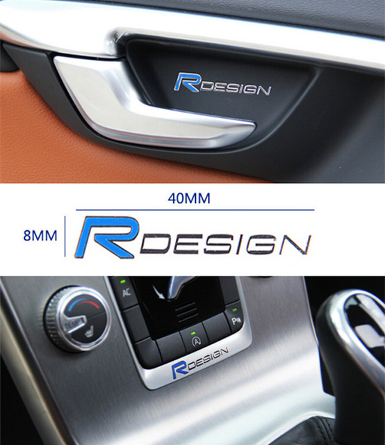 R design logo emblem car door window decal blue metal sticker central control stickers for volvo