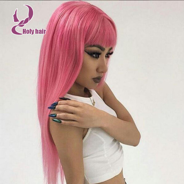 Fasinating Unprocessed Best Human Hair Pink Wig With Chinese Bang
