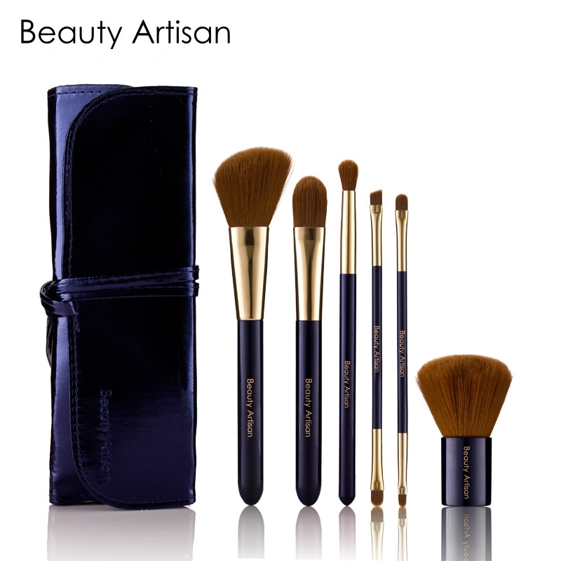 2017 Professional 6Pcs Kit Makeup Set Brushes Portable Cosmetic Eyebrow Powder Make Up Brush Tools With Sleek Leather Bag Holder high quality 7 makeup brush set kit in sleek berry red leather bag make up portable brushes free shipping