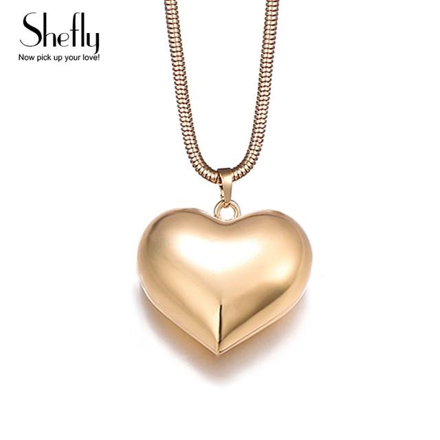 3b3adfc5cb15 € 2.93 20% de DESCUENTO Collares colgantes de corazón de amor grande KC  Color oro pulido collares y colgantes para mujeres joyería regalos collier  ...