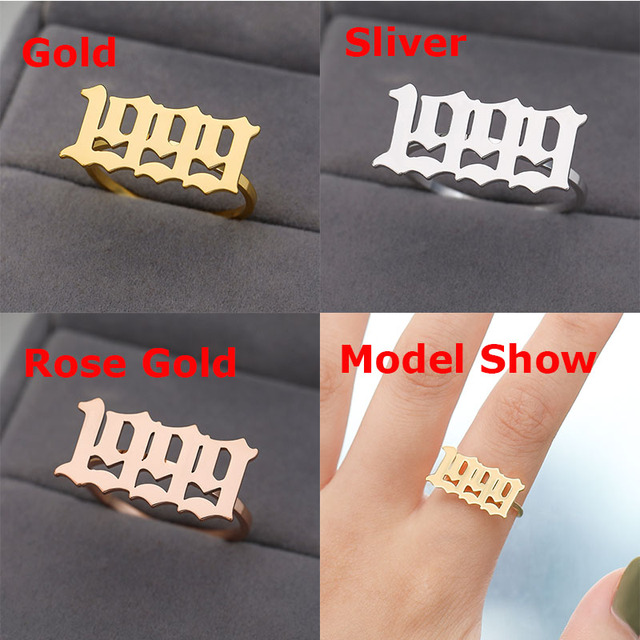 Old English Ring for Women Number Ring Year 1993 1997 2019 Number Ring Stainless Steel Gold Silver Color Jewelry Gift