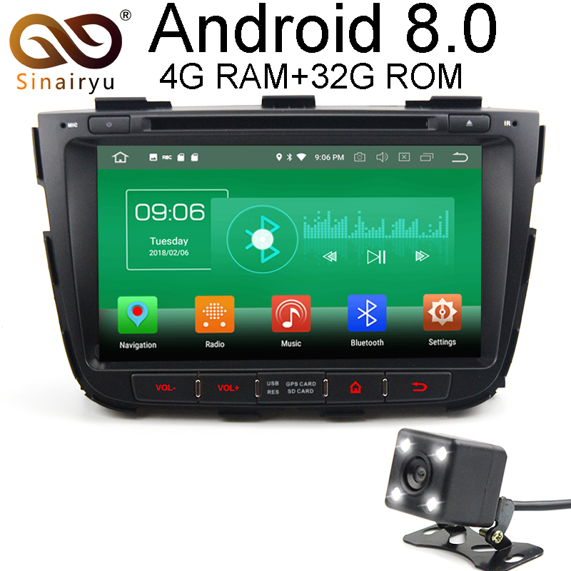 Sinairyu 4G RAM Android 8.0 Car DVD For Kia Sorento 2012 2013 2014 Octa Core 32G ROM Radio GPS Player Head Unit