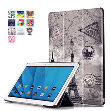 Folio Stand PU Leather-based Cowl Case For Huawei MediaPad M2 10 M2-A01W M2-A01L 10.1″ Pill + 2Pcs Display Protector
